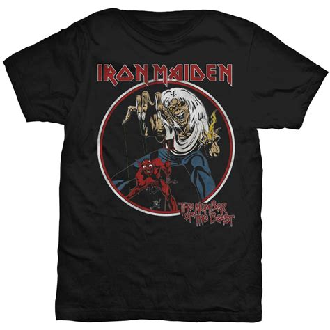 Iron Maiden t-shirt herr: Number Of The Beast Circle