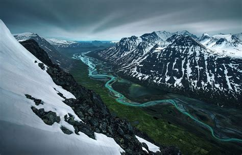 nature, Landscape, Mountain, Snow, River, Valley, Snowy