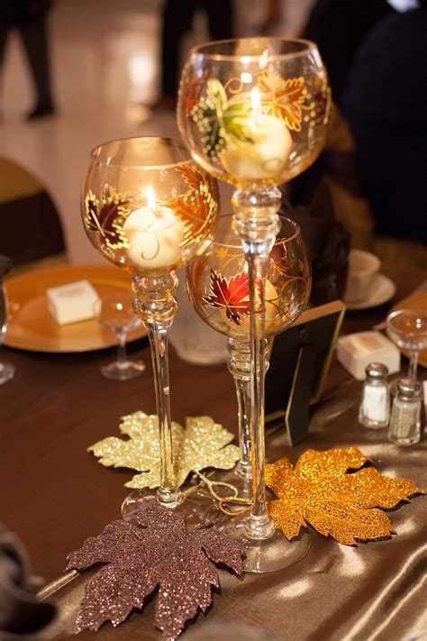 Fall Wedding Table Centerpieces- We got these goblet trios