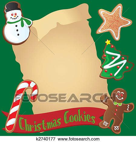 Clip Art of Christmas Cookie Recipe or Invitation k2740177