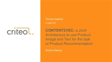 CONTENT2VEC: a Joint Architecture to use Product Image and