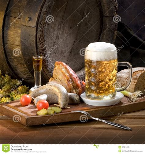 Still Life With Beer And Food Royalty Free Stock