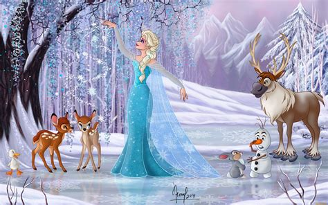 Bambi And Friends Winter Magic Snow Queen Hd Wallpaper For