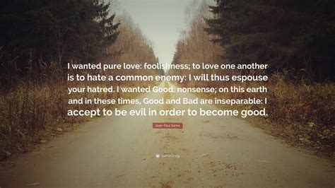"""Jean-Paul Sartre Quote: """"I wanted pure love: foolishness"""