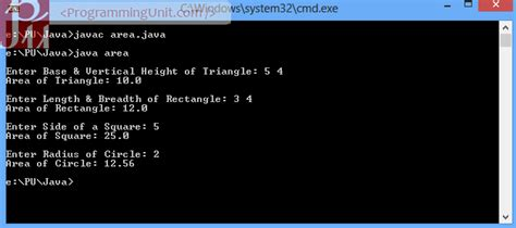 Java Program to calculate Area using Abstract Class and
